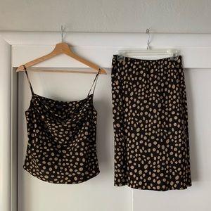 Vintage 100% Silk 2-Piece Polka Dot Skirt Set